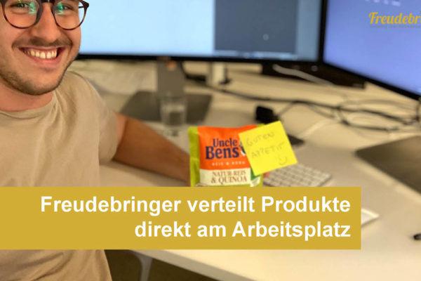 Sampling-Agentur Freudebringer verteilt Produkte am Arbeitsplatz